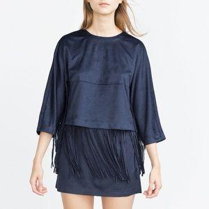 Zara suede fringe skirt